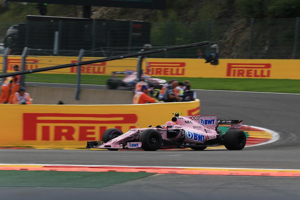 Sergio Perez Esteban Ocon Force India Belgian Grand Prix