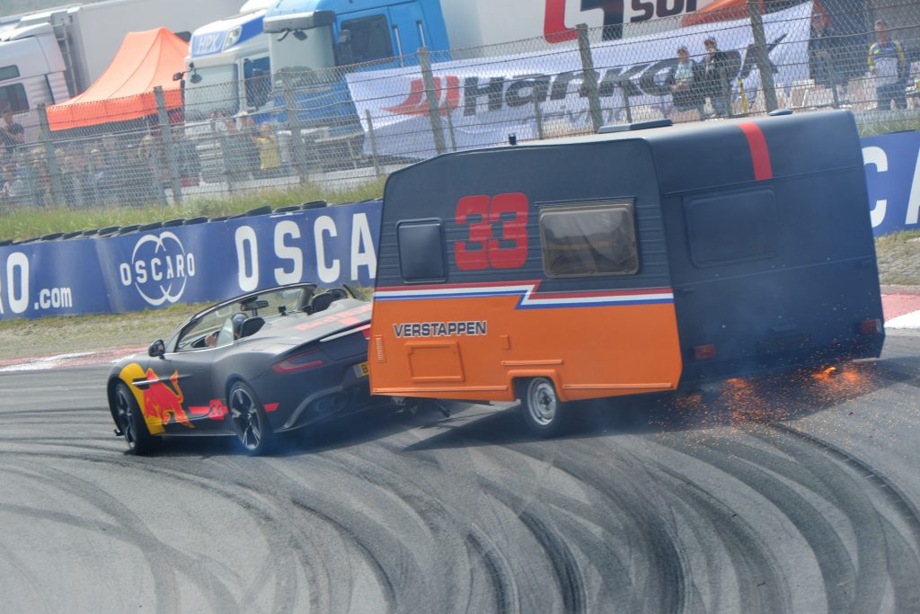 Ricciardo & Verstappen destroy more caravans in Red Bull demo day at Zandvoort
