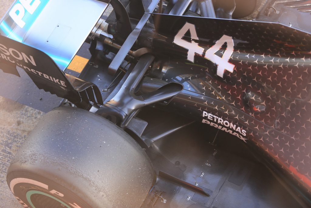 Mercedes F1 gearbox rear suspension Barcelona