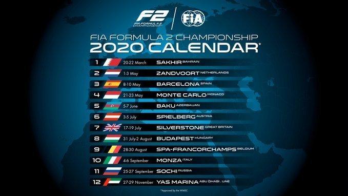 2020 Formula 2 F2 calendar