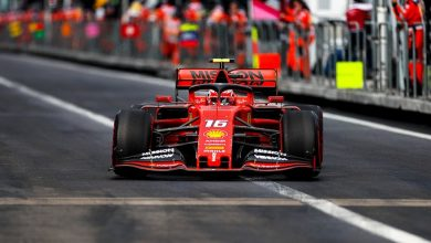 Photo of Leclerc leads Ferrari 1-2 in damp squib third practice