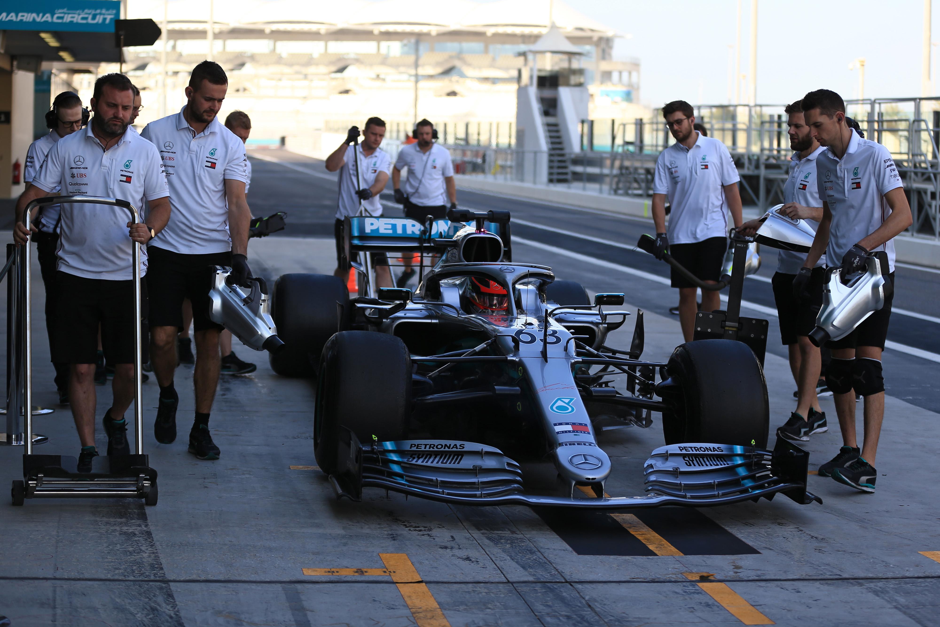 F1 Formula 1 Formula One George Russell Mercedes Pirelli 18 inch tyre test Mercedes Pirelli