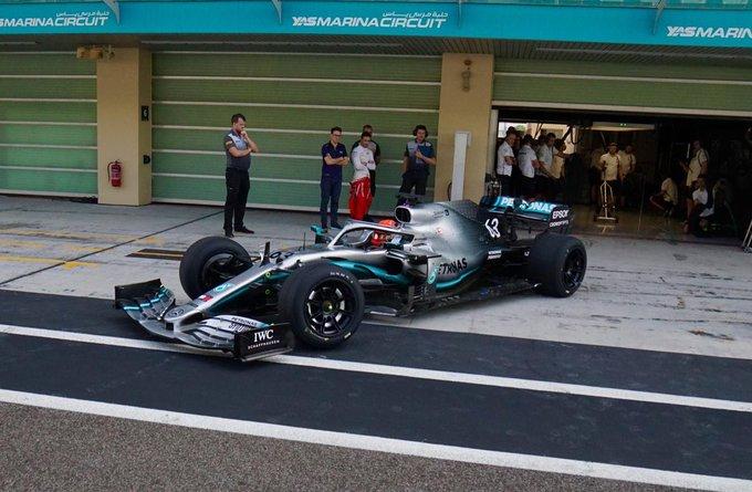 F1 Formula 1 Formula One Mercedes Russell 18 inch tyres Pirelli Yas Marina