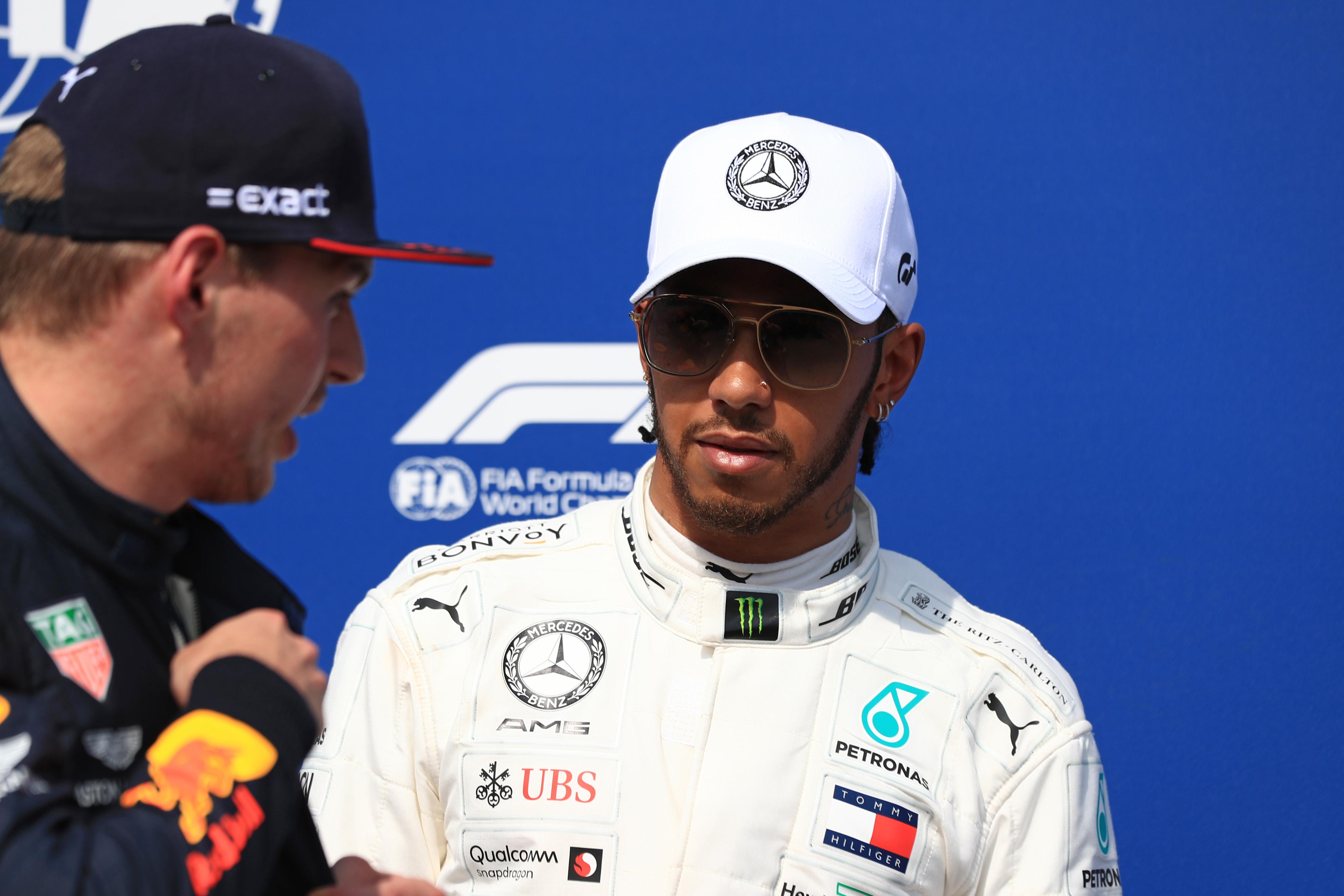 F1 Formula 1 Lewis Hamilton Max Verstappen talking on track sign of weakness