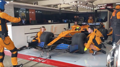 Photo of McLaren shake down the MCL35 at filming day