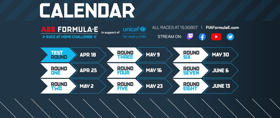ABB Formula E Race at Home Challenge calendar