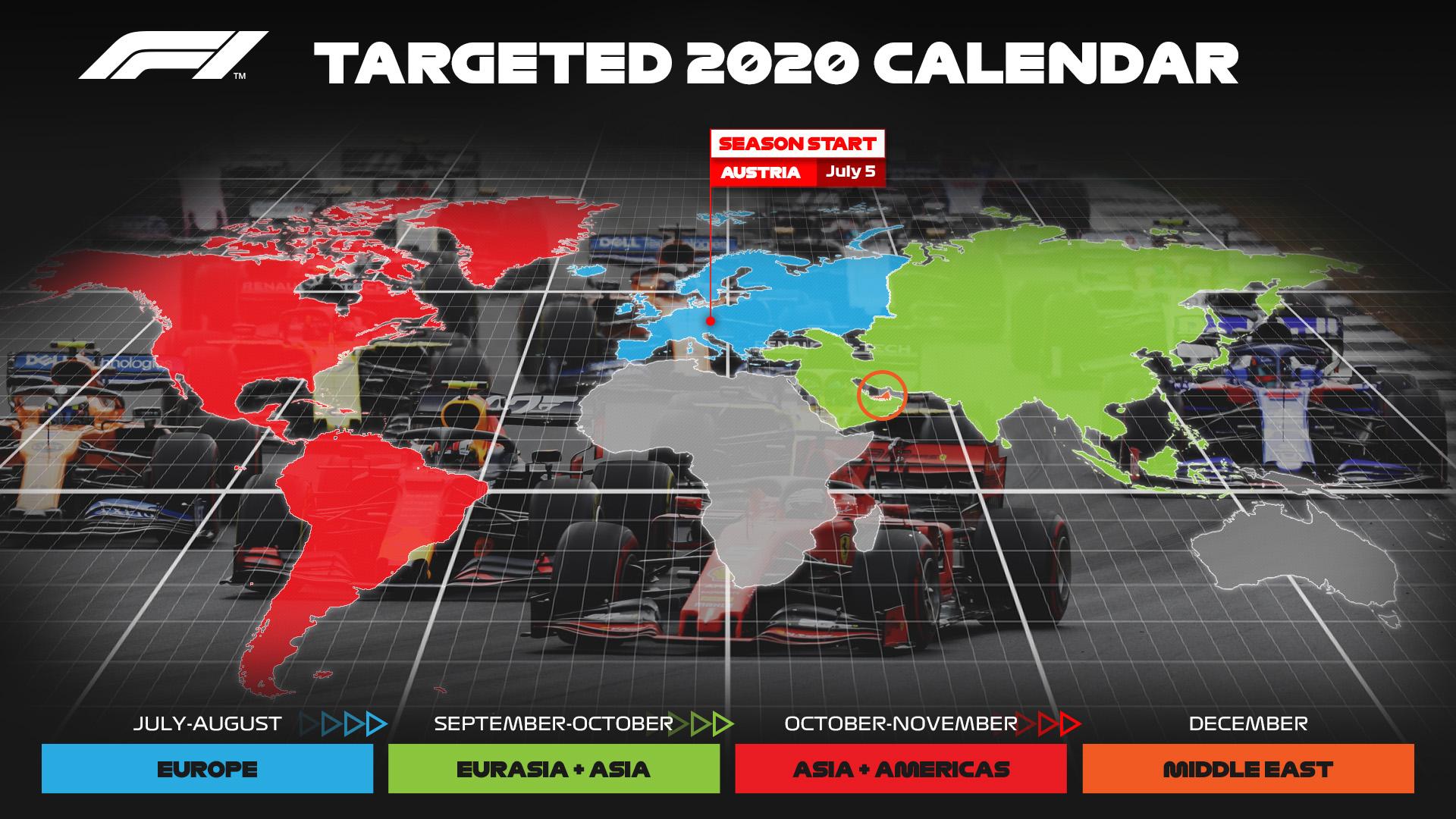 F1 Formula 1 calendar 2020 revised provisional