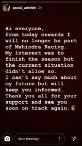 Pascal Wehrlein's Instagram statement
