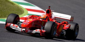 Mick Schumacher takes his dad's F2004 for a spin around Mugello