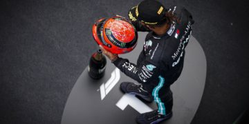 Hamilton 'honoured' to receive Schumacher helmet as he equals 91 wins