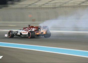 F1 Formula 1 Alfa Romeo Kimi Raikkonen Abu Dhabi Grand Prix fire FP2